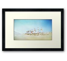Yoga practice at the beach Framed Print