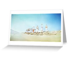 Yoga practice at the beach Greeting Card