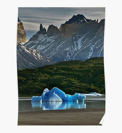 Iceberg and Mountains Poster