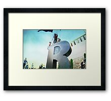Handstand over the 'R' of Barcelona  Framed Print