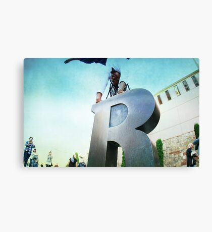 Handstand over the 'R' of Barcelona  Canvas Print