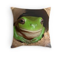 Green Tree-Frog in Hole Throw Pillow