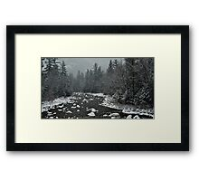 Winter first snow scenery with mountain river in White Mountains, NH Framed Print