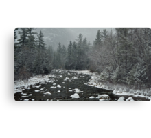Winter first snow scenery with mountain river in White Mountains, NH Metal Print