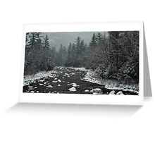 Winter first snow scenery with mountain river in White Mountains, NH Greeting Card