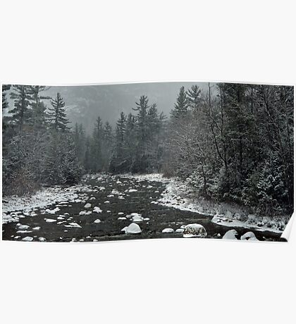 Winter first snow scenery with mountain river in White Mountains, NH Poster