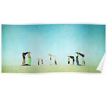 Group Partner Yoga in the beach Poster