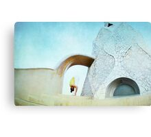 Yoga at Gaudi's Building 'La Pedrera', Barcelona Canvas Print
