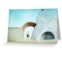 Yoga at Gaudi's Building 'La Pedrera', Barcelona Greeting Card