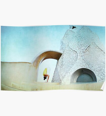 Yoga at Gaudi's Building 'La Pedrera', Barcelona Poster