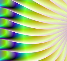 Neon Fan in Yellow Green and Blue by Objowl
