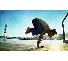 Yoga at the Port Olimpic, Barcelona Photographic Print