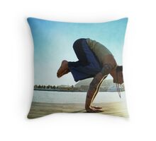 Yoga at the Port Olimpic, Barcelona Throw Pillow