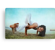 Balance and strengh Asana at the Beach Metal Print