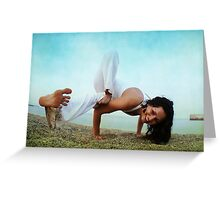 Balance and strengh Asana at the Beach Greeting Card