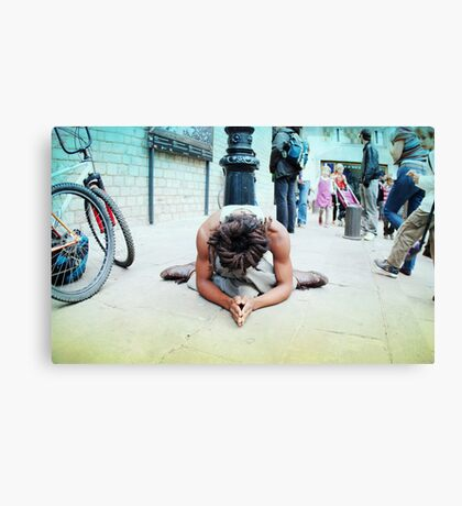 Humble meditation in the streets of Barcelona Canvas Print