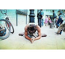 Humble meditation in the streets of Barcelona Photographic Print