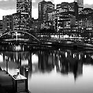 The Yarra River Melbourne Victoria Australia Looking West At Night by Nick Egglington