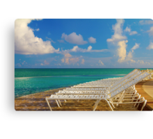 Beach chairs in a tropical pool in the Bahamas Canvas Print
