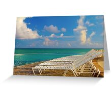 Beach chairs in a tropical pool in the Bahamas Greeting Card