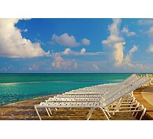 Beach chairs in a tropical pool in the Bahamas Photographic Print