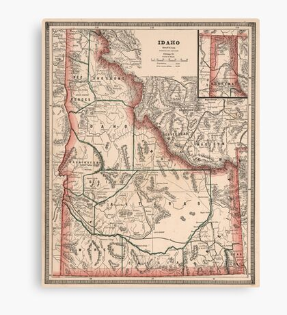 Vintage Map of Idaho (1883) Canvas Print