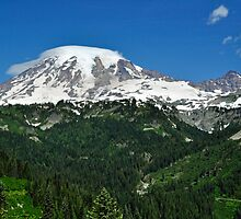 Mt. Rainier between the Valley by Terrie Heslop