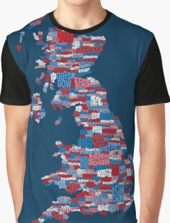 Great Britain UK City Text Map Graphic T-Shirt