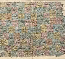 Vintage Map of Iowa (1875) by BravuraMedia