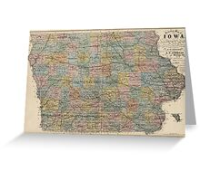 Vintage Map of Iowa (1875) Greeting Card