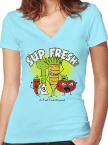 S'up Fresh?! Fresh Foods Movement Women's Fitted V-Neck T-Shirt