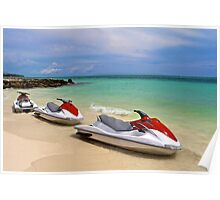 Jet Ski waiting at the shore Poster