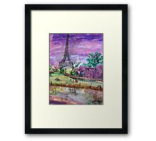 Spring Dusk Along the River Seine Framed Print