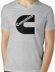 Black Cummins Logo Mens V-Neck T-Shirt