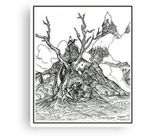 Castles in the Sky Pen Drawing Canvas Print