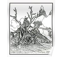 Castles in the Sky Pen Drawing Poster