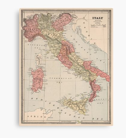 Vintage Map of Italy (1883) Canvas Print
