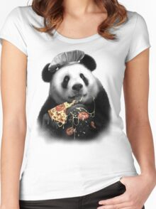 PANDA LOVES PIZZA Women's Fitted Scoop T-Shirt