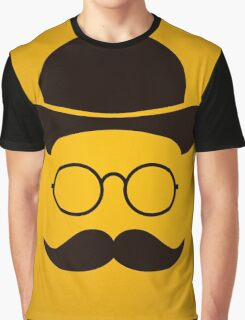 Retro /Minimal vintage face with Moustache & Glasses Graphic T-Shirt
