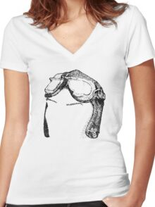 Dotwork Retro Aviator Goggles Women's Fitted V-Neck T-Shirt