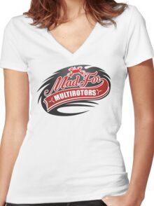 Mad For Multirotors Custom Logo Women's Fitted V-Neck T-Shirt