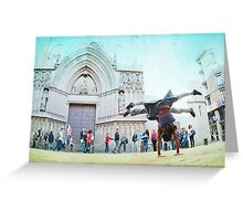 Double handstand on front Santra Maria del Mar, Barcelona Greeting Card