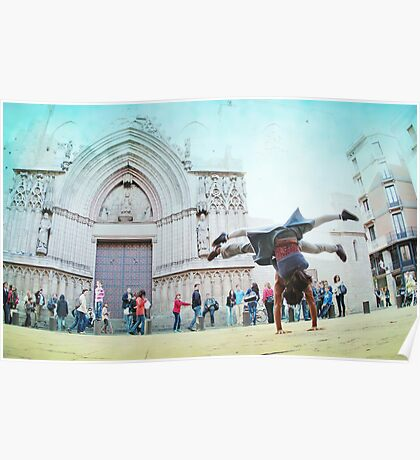 Double handstand on front Santra Maria del Mar, Barcelona Poster