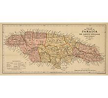 Vintage Map of Jamaica (1893) Photographic Print