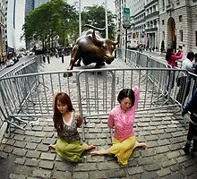Yoga at the Wall Street Bull, New York by Wari Om  Yoga Photography