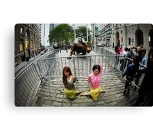 Yoga at the Wall Street Bull, New York Canvas Print