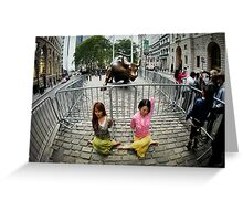 Yoga at the Wall Street Bull, New York Greeting Card