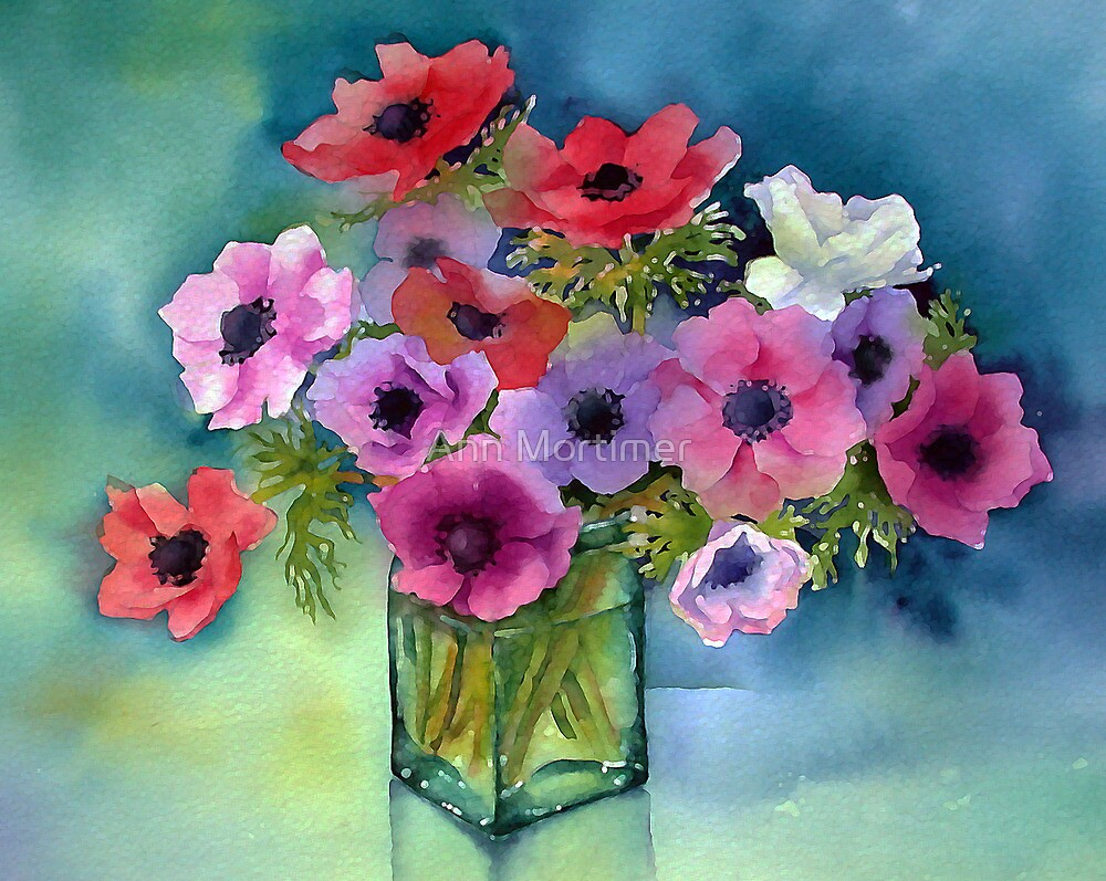 Anemones in a green vase by Ann Mortimer