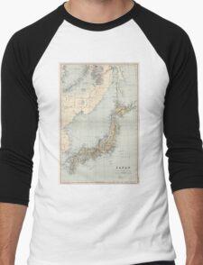 Vintage Map of Japan (1892) Men's Baseball ¾ T-Shirt