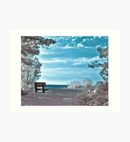 Presque Isle Bench Art Print
